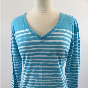 Crown & Ivy Stripes V Neck Shirt Size L (B-88)